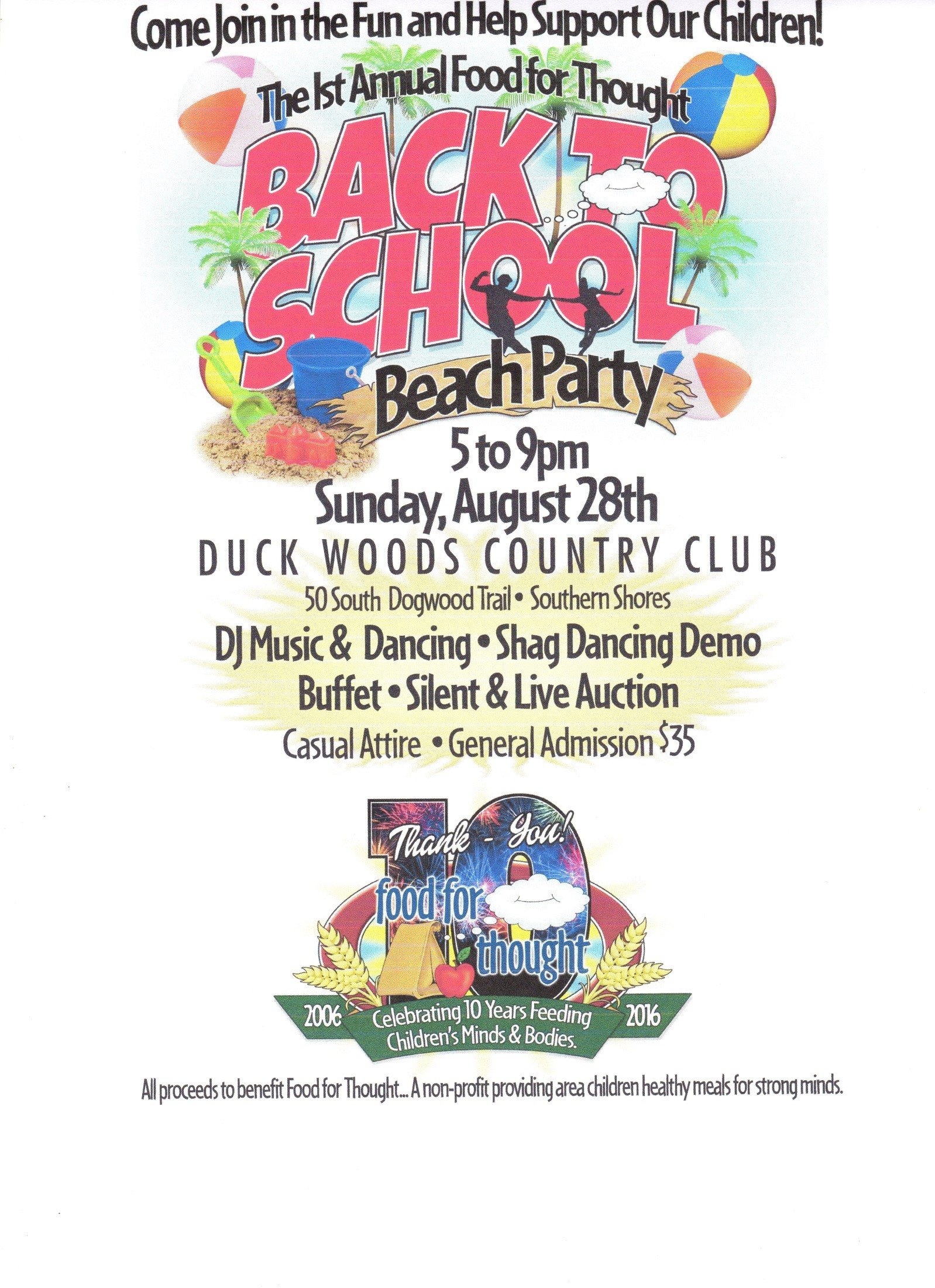 Food for Thought Back to School Beach Party Seeks Auction Items