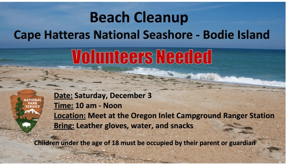Volunteers Needed: Beach Cleanup – Saturday, December 3