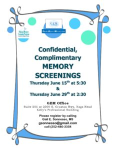 Memory Screening June 15 and 19th