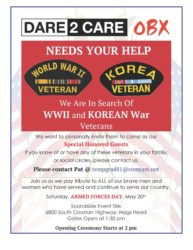 Veteran Volunteers Needed. May 20