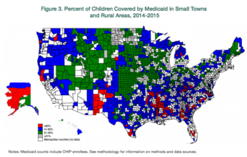 Interactive Map: The Percent of Children in Small Towns and Rural Areas Covered by Medicaid, 2014/15
